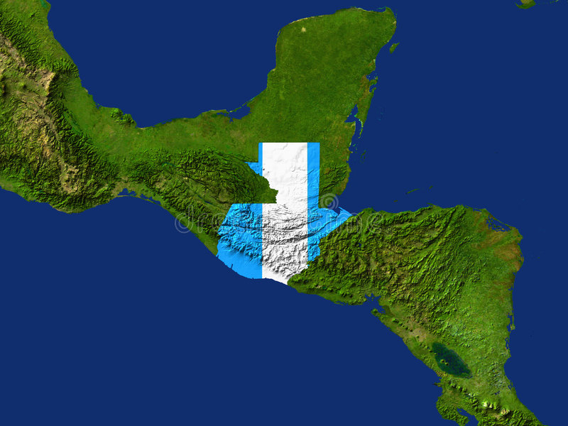 Guatemala. Highlighted Satellite Image Of Guatemala With The Countries Flag Covering It vector illustration