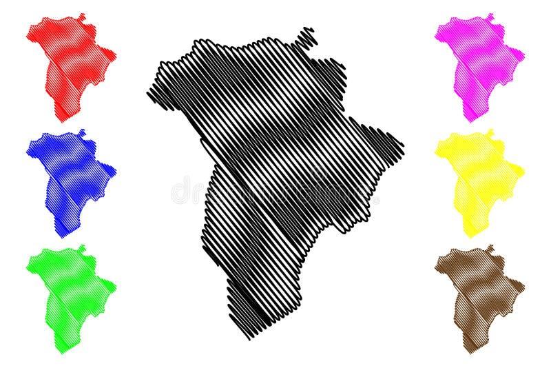 Guatemala-Abteilung Republik Guatemala, Abteilungen der Guatemala-Kartenvektorillustration, Gekritzelskizze Guatemala-Karte lizenzfreie abbildung