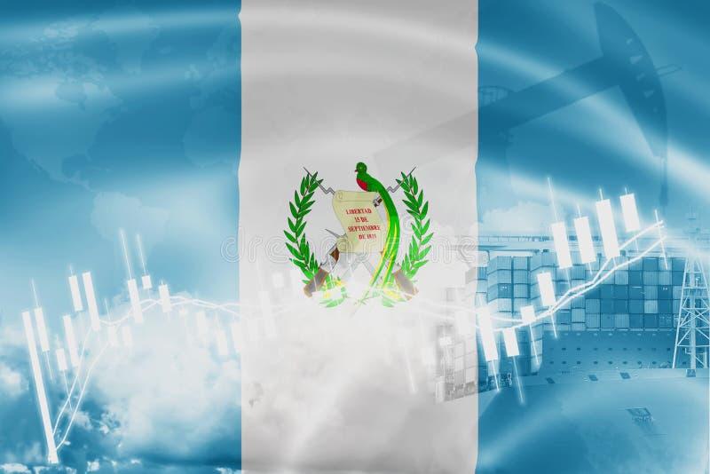 Guatemala flagga, aktiemarknad, utbytesekonomi och handel, oljeproduktion, behållareskepp i export- och importaffär och royaltyfri illustrationer