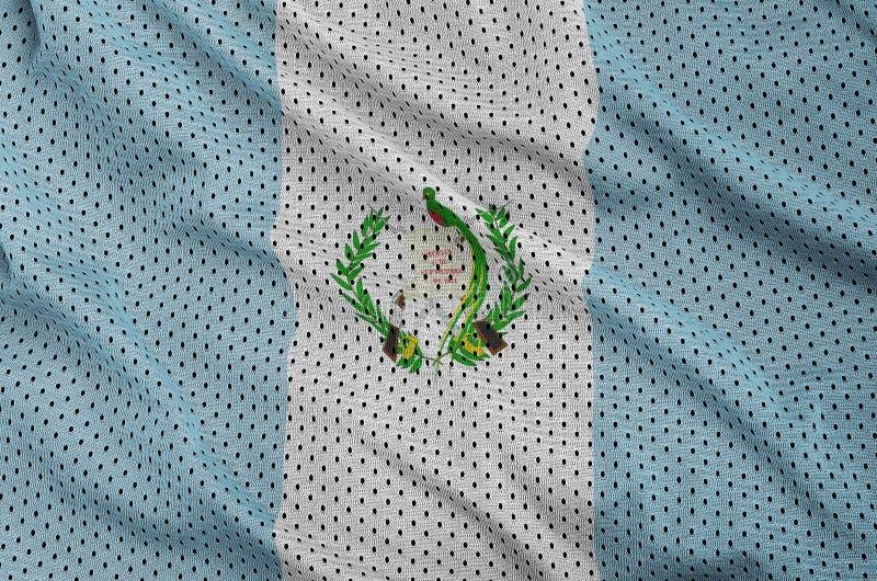 Guatemala flagga som skrivs ut på en fabr för ingrepp för polyesternylonsportswear royaltyfria foton