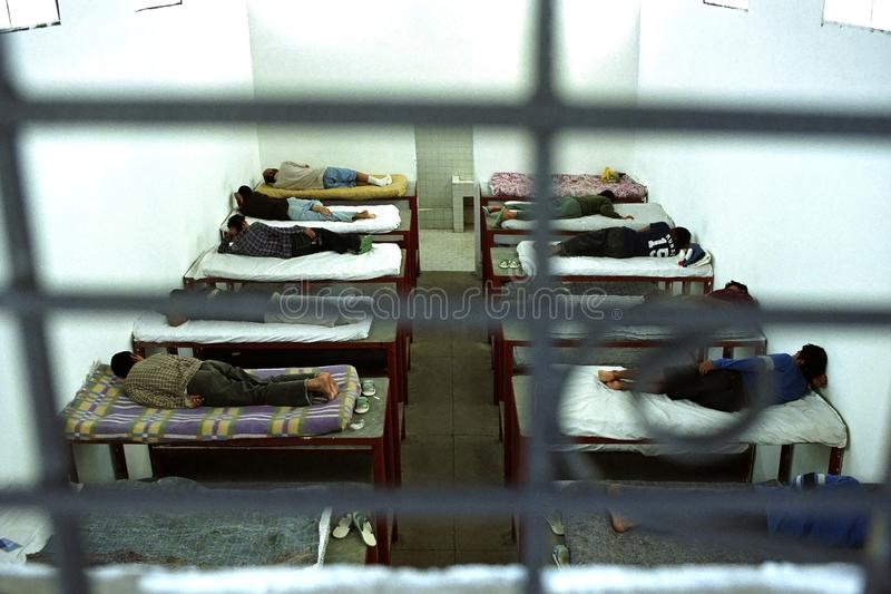 Young Guatemalans in juvenile detention. Guatemala, group portrait of young prisoners in the youth prison, jail, Bienestar Social, in the capital Guatamala City royalty free stock image