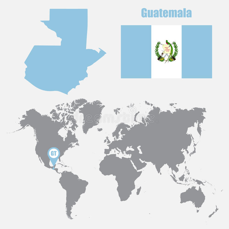 Guatemala map on a world map with flag and map pointer. Vector illustration stock illustration