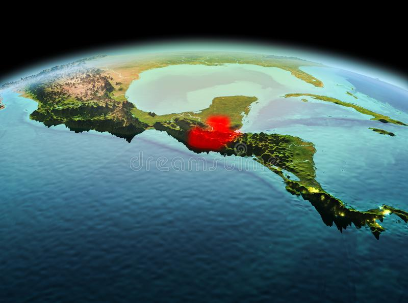 Guatemala on planet Earth in space. Morning above Guatemala highlighted in red on model of planet Earth in space. 3D illustration. Elements of this image royalty free stock photography