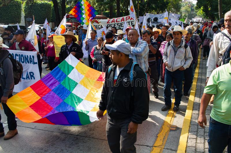 Guatemala Political Organization Protest Exile of Evo Morales and situation in Bolivia. Members of CODECA, which stands for Comite de Campesinos, a strong royalty free stock photos
