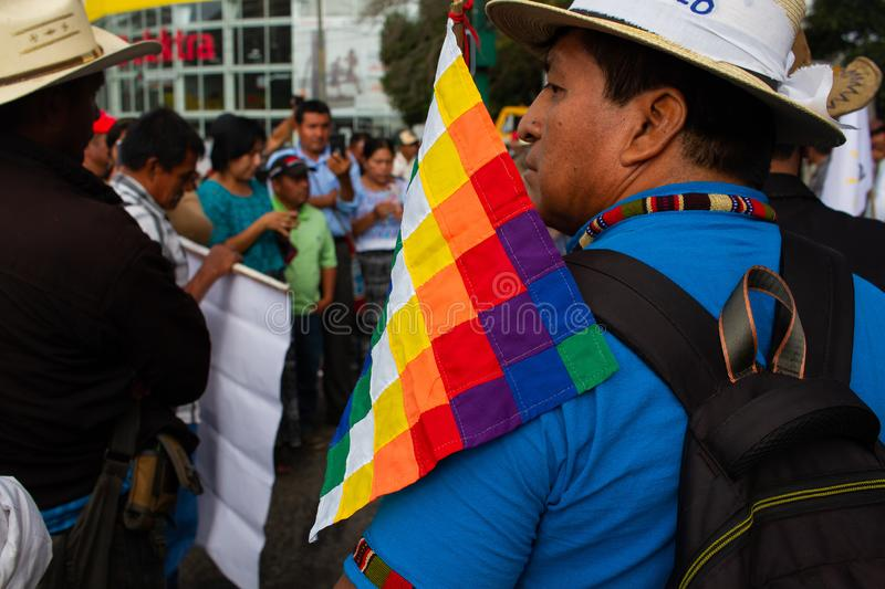 Guatemala Political Organization Protest Exile of Evo Morales and situation in Bolivia. Members of CODECA, which stands for Comite de Campesinos, a strong royalty free stock image
