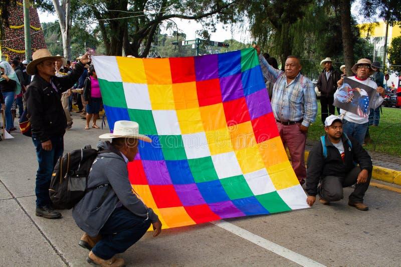 Guatemala Protest ballingschap van Evo Morales en situatie in Bolivia stock afbeelding