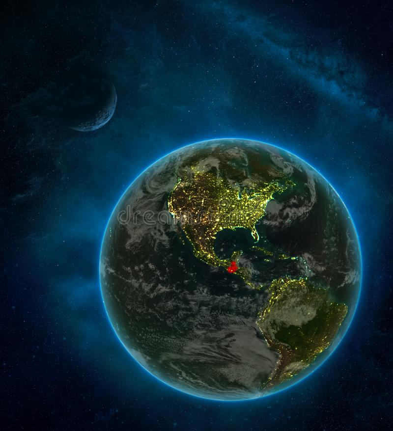 Guatemala from space on Earth at night surrounded by space with Moon and Milky Way. Detailed planet with city lights and clouds. 3D illustration. Elements of royalty free illustration