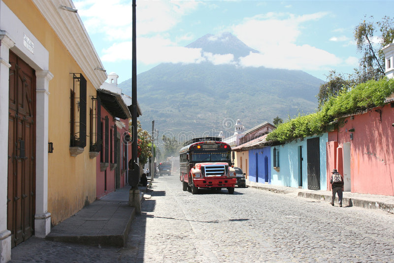 Guatemalan chicken bus royalty free stock photos
