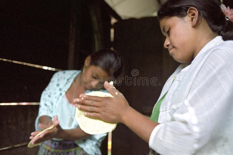 Guatemalan Indian teens preparing tortillas. Guatemala, department Alto Verapaz: group portrait of Indian teenagers working together, preparing a meal, cooking royalty free stock images