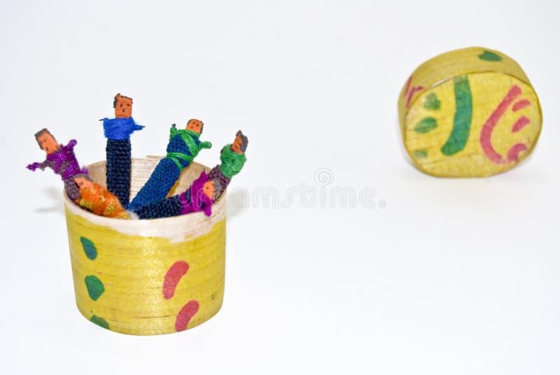 Guatemalan worry dolls. Box of Worry dolls. Handmade craftwork from Guatemala stock photo