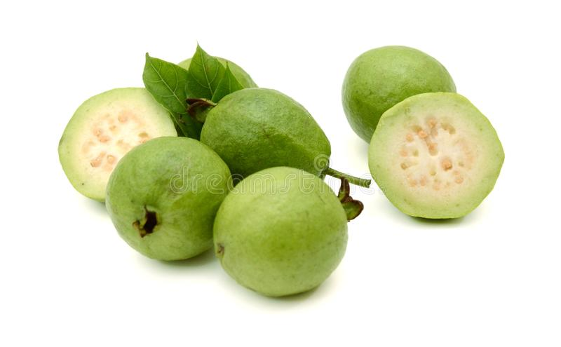 Guava. Fresh green Guava fruit on white background stock images
