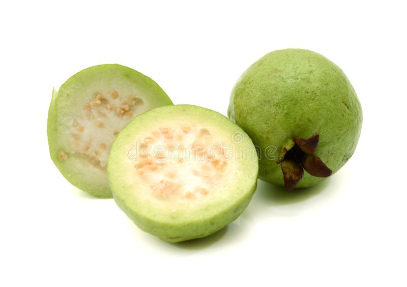 Guava fruit. Fresh green Guava fruit on white background stock images