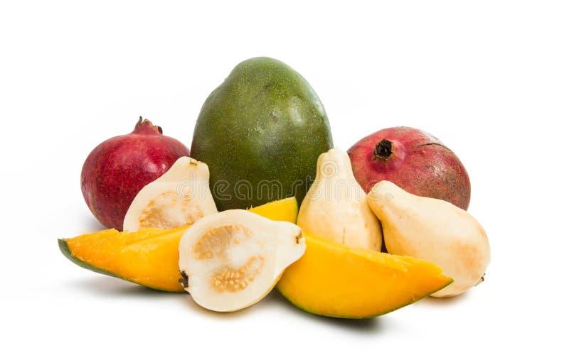 Guave der tropischen Frucht, Mango, Granatapfel lizenzfreie stockfotografie