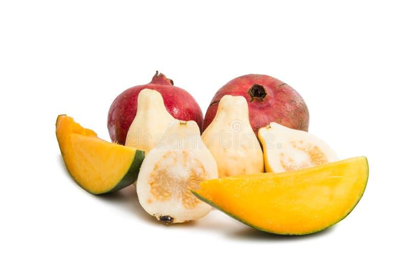 Guave der tropischen Frucht, Mango, Granatapfel lizenzfreies stockbild