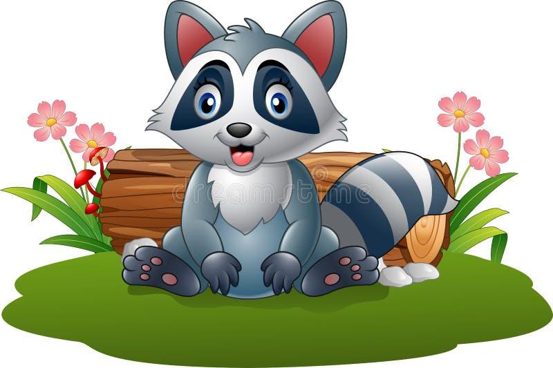 Guaxinim dos desenhos animados na floresta ilustração stock