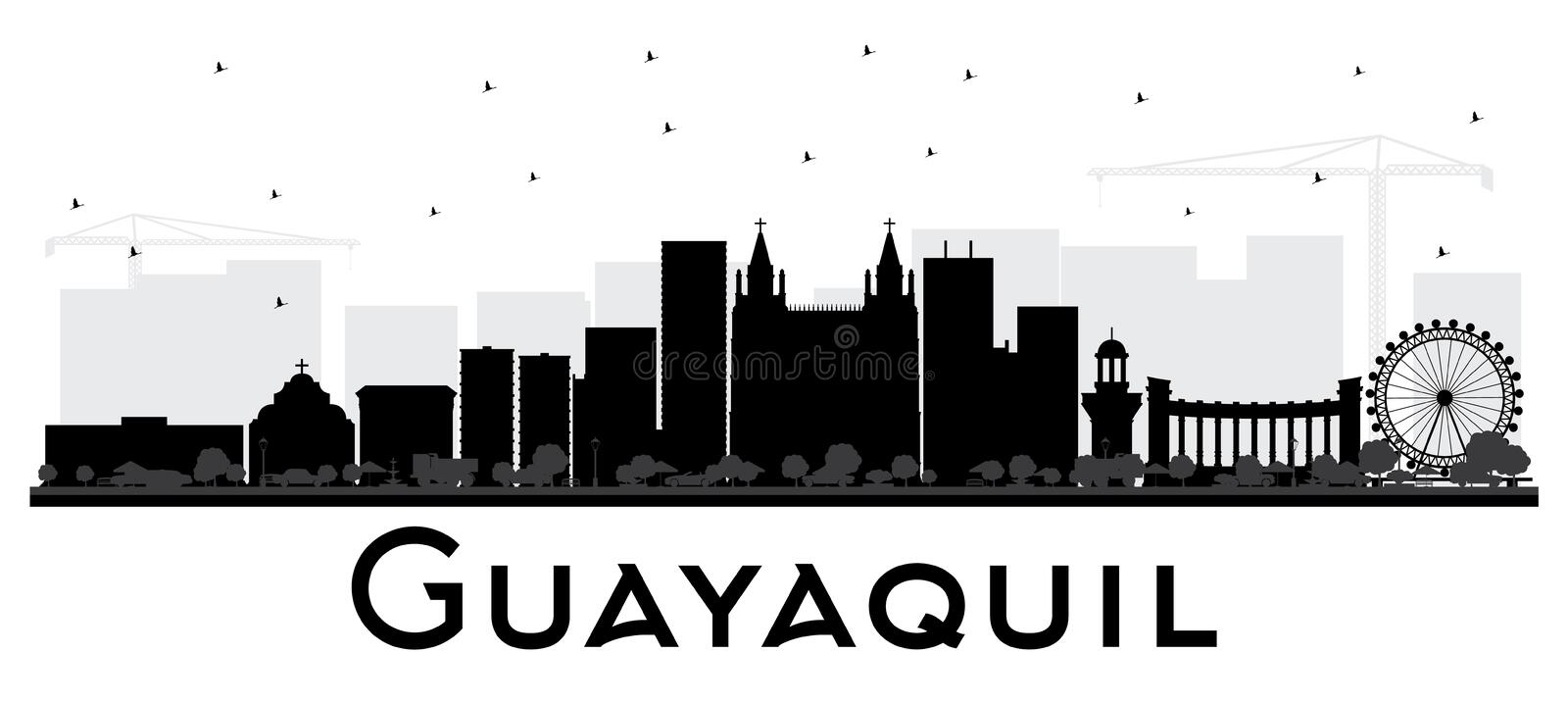 Guayaquil Ecuador City Skyline with Black Buildings Isolated on. White. Vector Illustration. Business Travel and Tourism Concept with Historic Architecture stock illustration