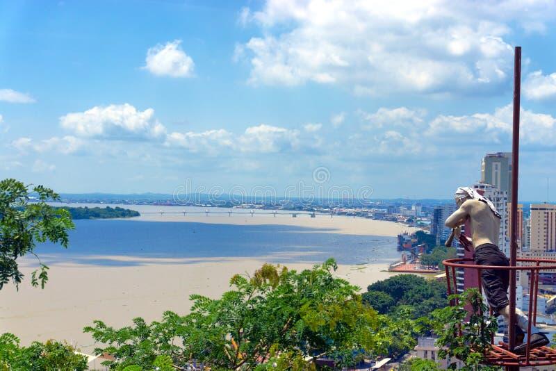 Guayaquil et rivière de Guayas photo stock