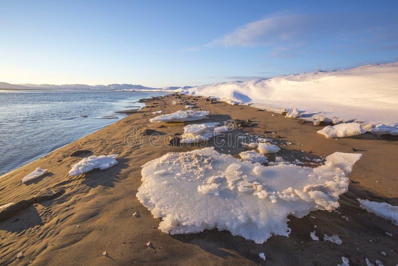 Guba Voronya, Barents morza zatoki zimy krajobraz obrazy stock