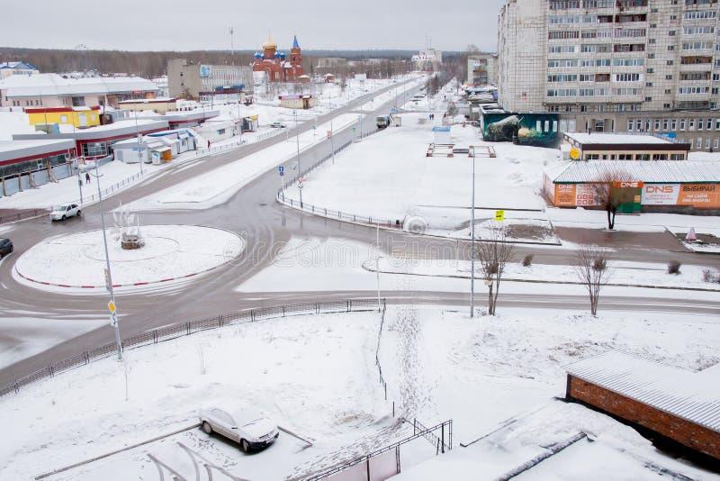 Gubakha, regione di perm, Russia - 16 aprile 2017: Landsc della molla della città fotografia stock libera da diritti