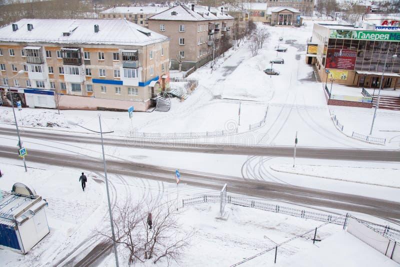 Gubakha, regione di perm, Russia - 16 aprile 2017: Terre urbane della molla immagini stock