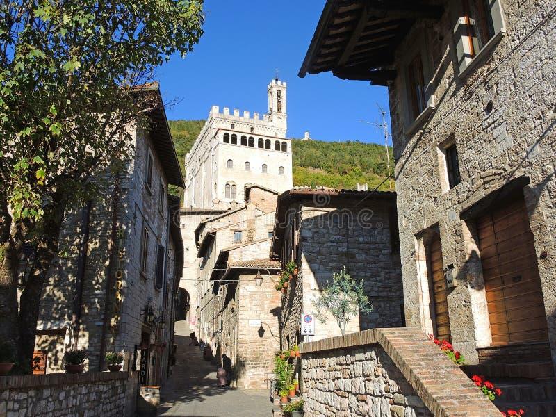 Gubbio, Италия Историческое здание вызвало dei Consoli Palazzo стоковые изображения rf