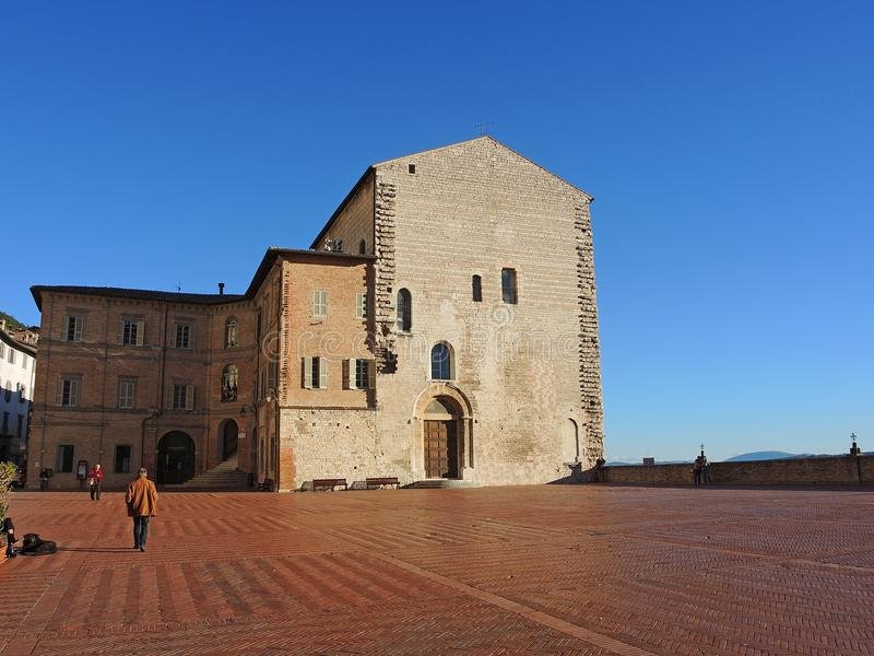 Gubbio, Italië Het historische gebouw riep Palazzo-dei Consoli stock foto