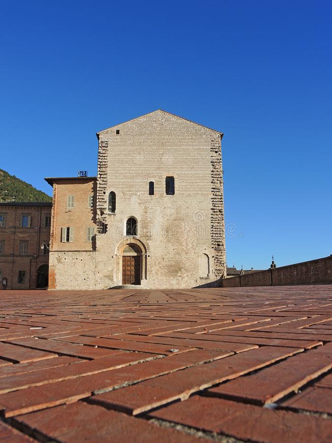 Gubbio, Italy. The main square and the City Hall stock photography