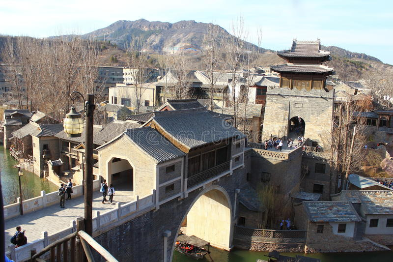 Gubei Water Town. Is located in the Miyun County in Beijing, China. It is backed by one of the most beautiful and the most dangerous Great Wall section royalty free stock images