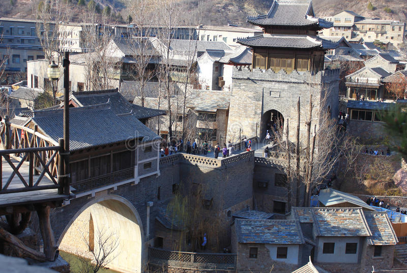 Gubei Water Town. Is located in the Miyun County in Beijing, China. It is backed by one of the most beautiful and the most dangerous Great Wall section stock photos