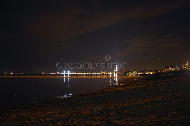 Gubernialny miasteczko przy nocą od truro zdjęcia stock