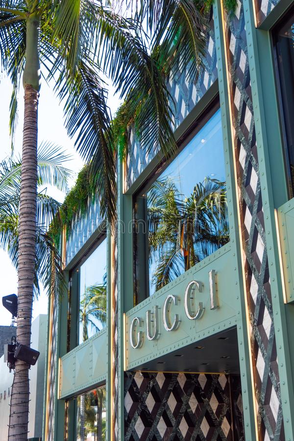 Gucci lager på Rodeo Drive i Beverly Hills - KALIFORNIEN, USA - MARS 18, 2019 arkivbilder