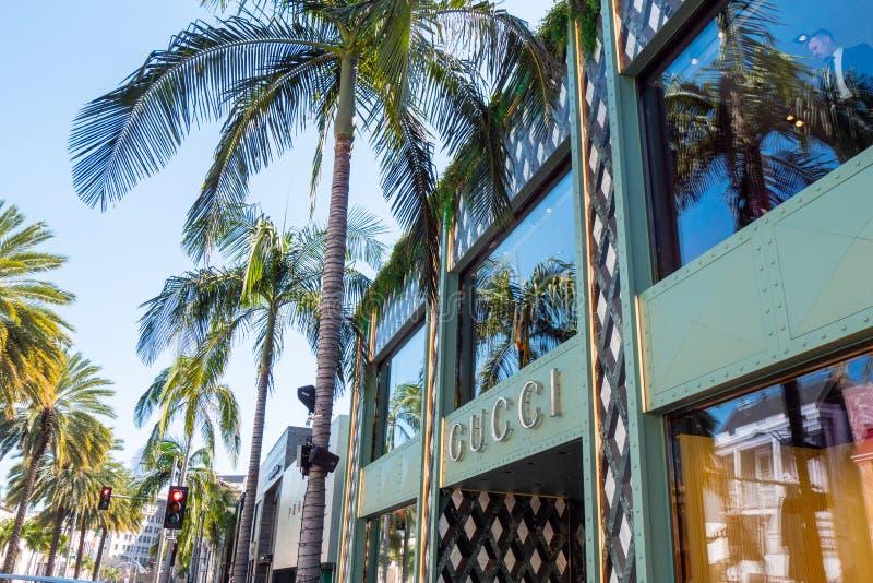 Gucci lager på Rodeo Drive i Beverly Hills - KALIFORNIEN, USA - MARS 18, 2019 royaltyfri bild