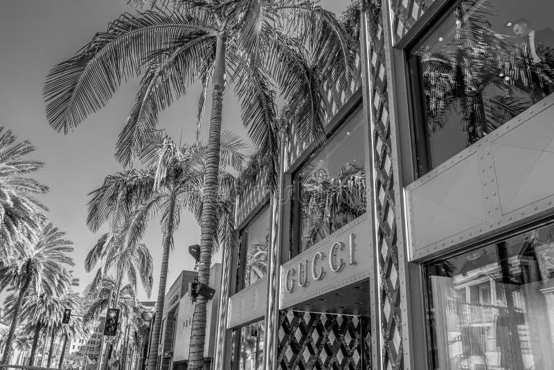 Gucci lager p? Rodeo Drive i Beverly Hills - KALIFORNIEN, USA - MARS 18, 2019 arkivbild