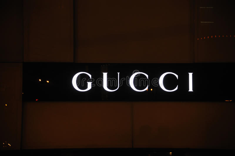 Gucci logo. In Chengdu,Sichuan,China royalty free stock photos