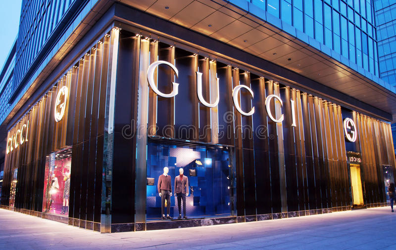 Gucci-manieropslag in China stock afbeelding
