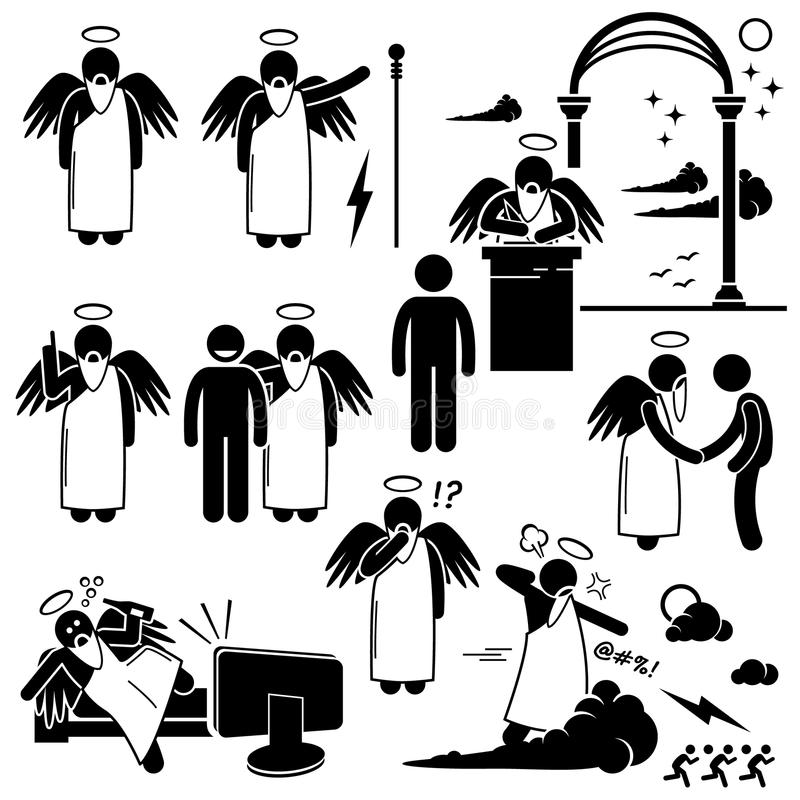 Gud Angel Heaven Paradise Clipart vektor illustrationer