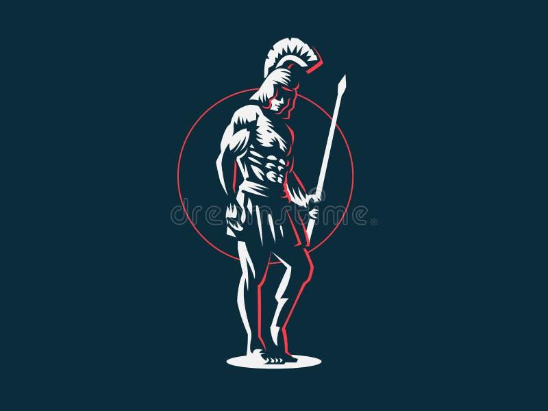 Gud Ares eller Mars med ett spjut stock illustrationer