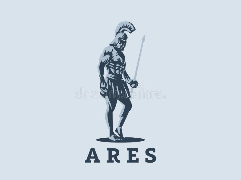 Gud Ares eller Mars med ett spjut royaltyfri illustrationer