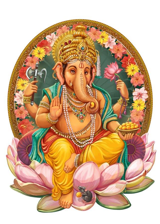 Gud Ganesha vektor illustrationer