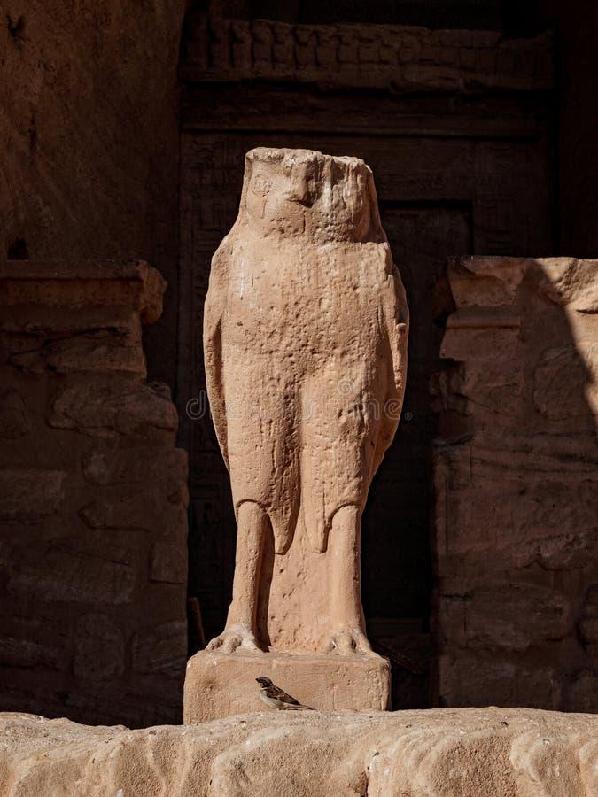 Gud Horus som en falkstaty på Abu Simbel Temple Egypt royaltyfri fotografi