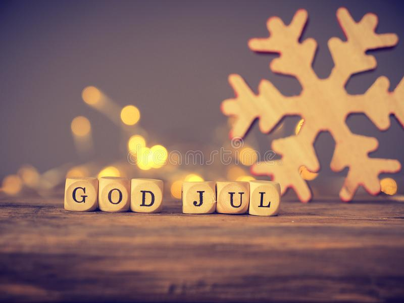 Gud Juli, skandinavisk glad jul arkivbild