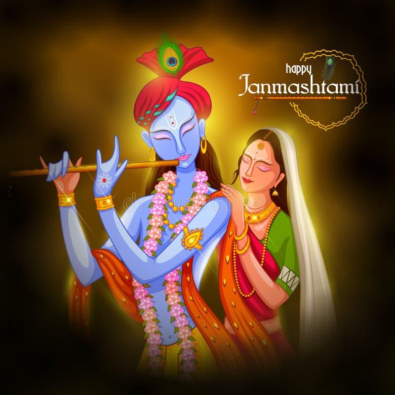 Gud Krishna som spelar flöjten med Radha på lycklig Janmashtami festivalbakgrund av Indien stock illustrationer