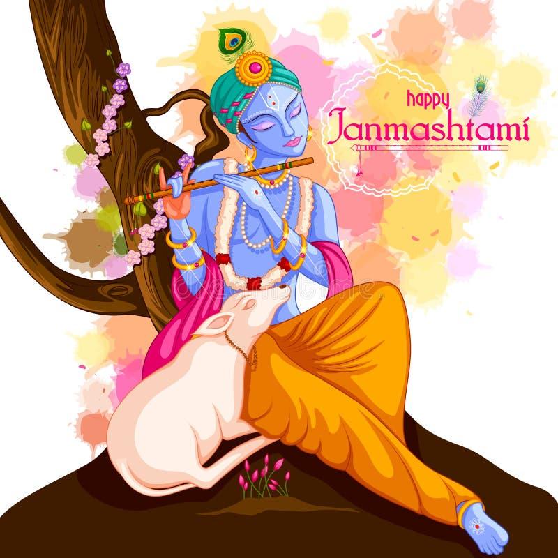 Gud Krishna som spelar flöjten på lycklig Janmashtami festivalbakgrund av Indien stock illustrationer