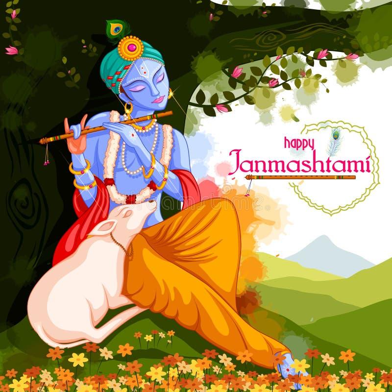 Gud Krishna som spelar flöjten på lycklig Janmashtami festivalbakgrund av Indien vektor illustrationer
