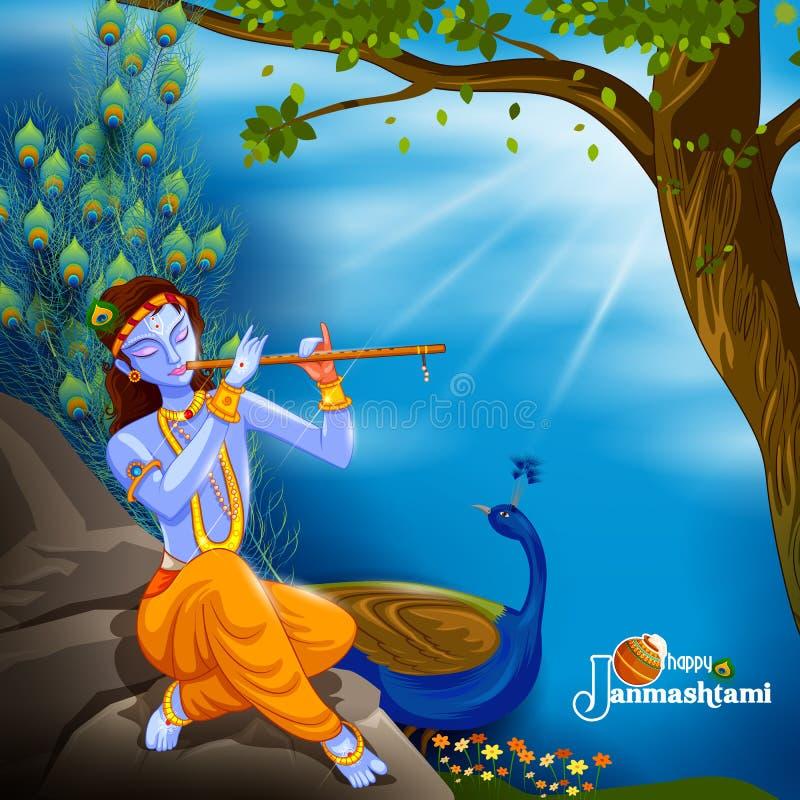 Gud Krishna som spelar flöjten på lycklig Janmashtami festivalbakgrund av Indien royaltyfri illustrationer