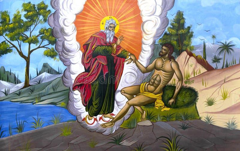 Gud som skapar Adam arkivbilder