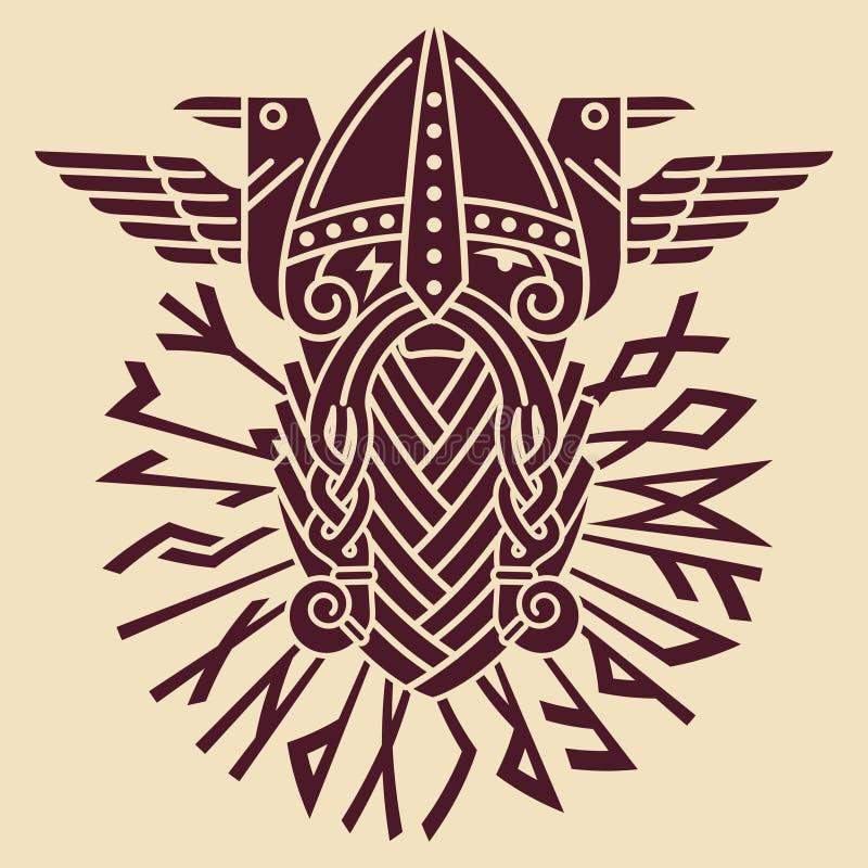 Gud Wotan och två ravens i en cirkel av Norserunor Illustration av Norsemytologi royaltyfri illustrationer