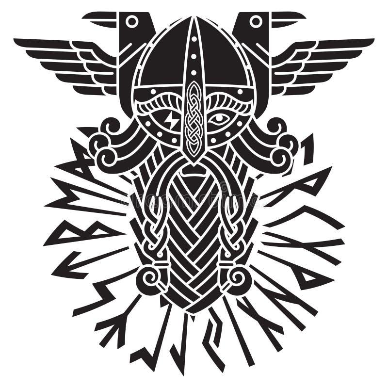 Gud Wotan, två ravens och norserunor Illustration av Norsemytologi royaltyfri illustrationer