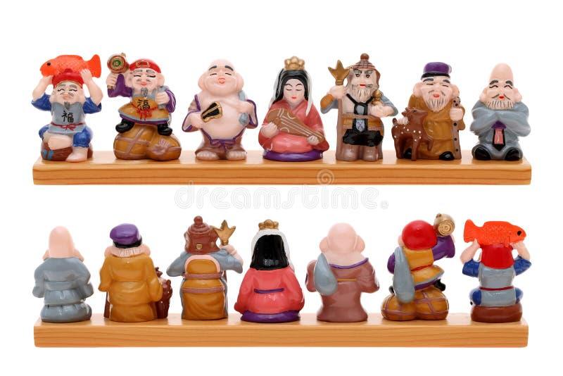 Gudar för asiat sju av förmögenhet royaltyfria bilder
