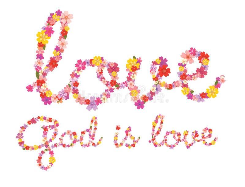 Guden är blom- bokstäver för förälskelse royaltyfri illustrationer